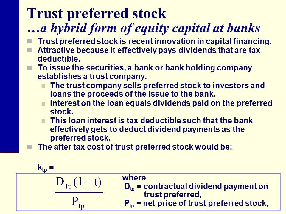 Trust preferred stock …a hybrid form of equity capital at banks