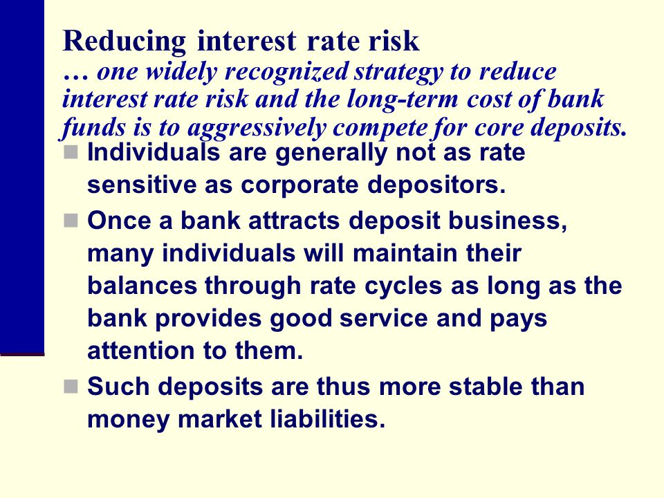 Reducing interest rate risk … one widely recognized strategy to reduce interest rate risk and the long-term cost of bank funds is to aggressively compete for core deposits.