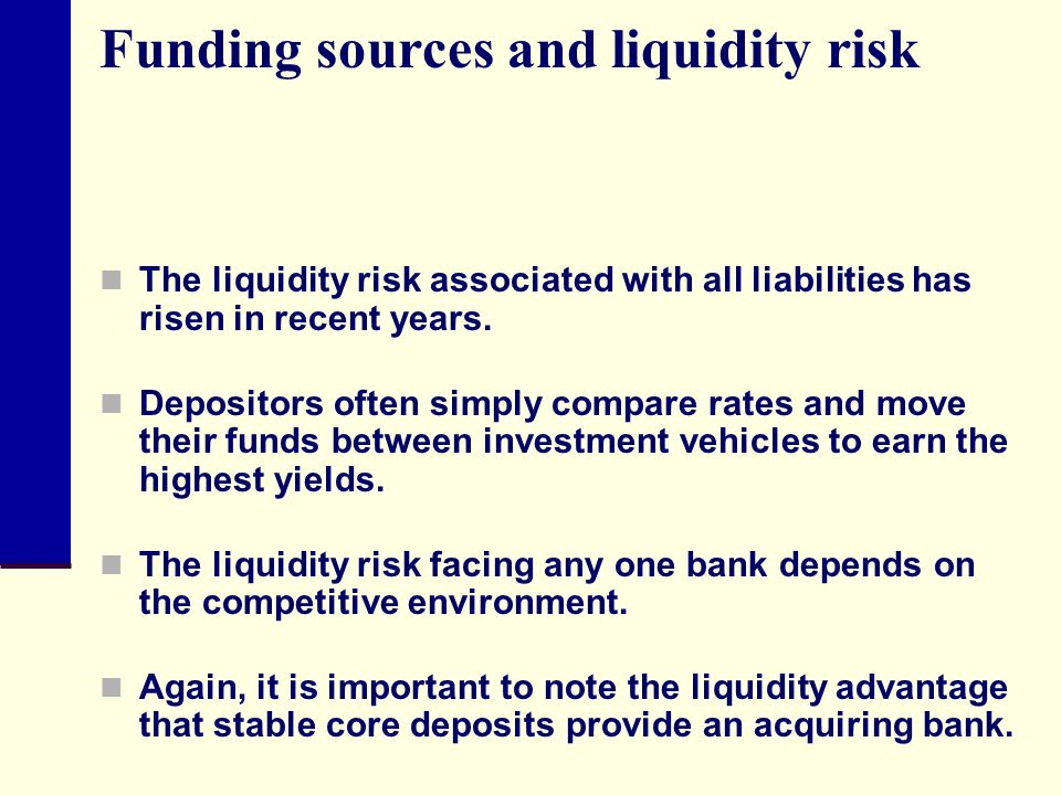 Funding sources and liquidity risk