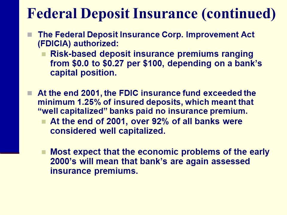 Federal Deposit Insurance (continued)