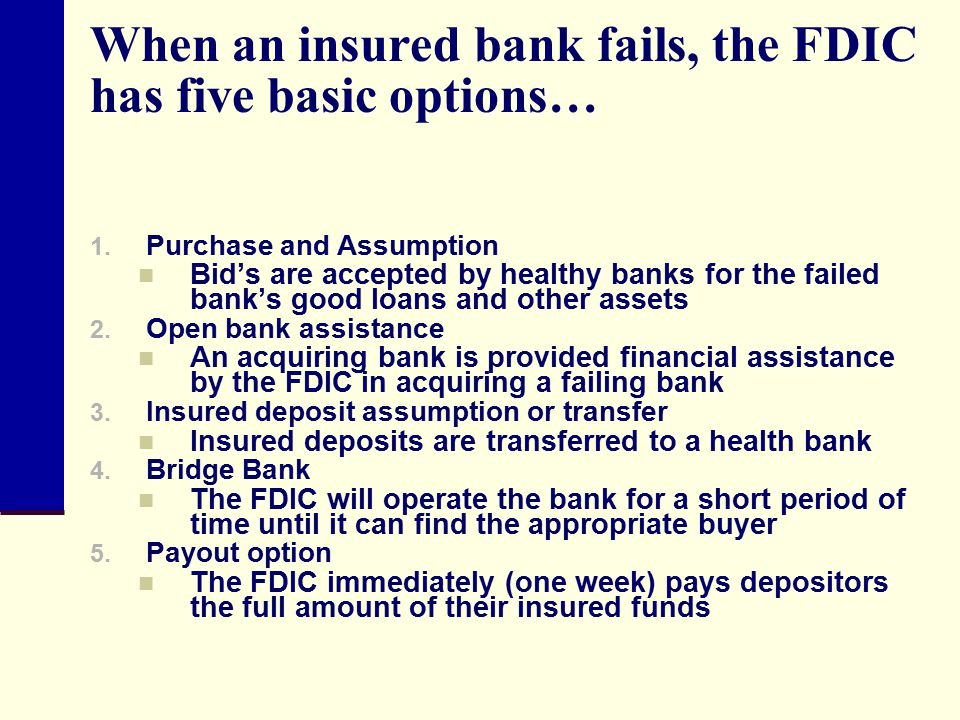 When an insured bank fails, the FDIC has five basic options…