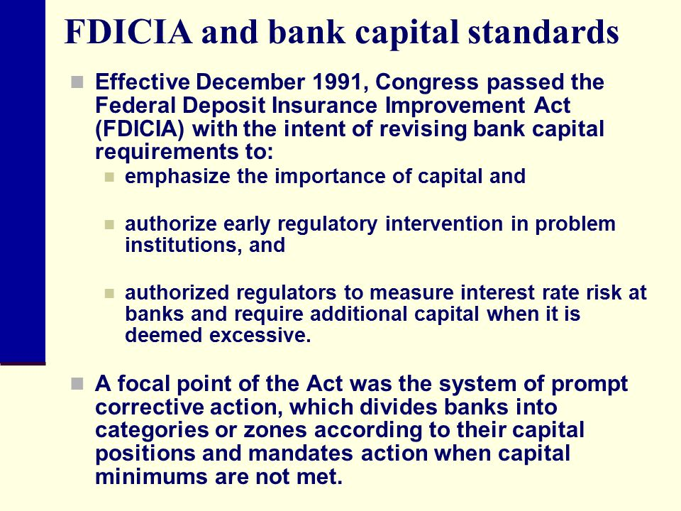 FDICIA and bank capital standards