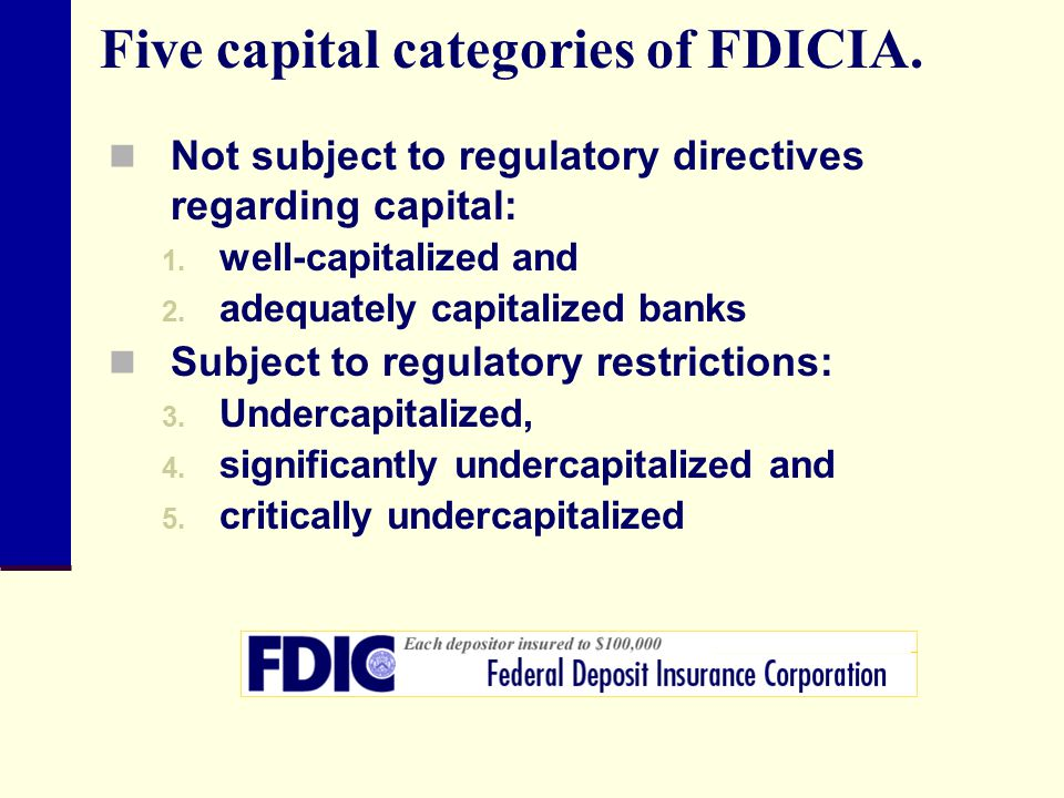 Five capital categories of FDICIA.