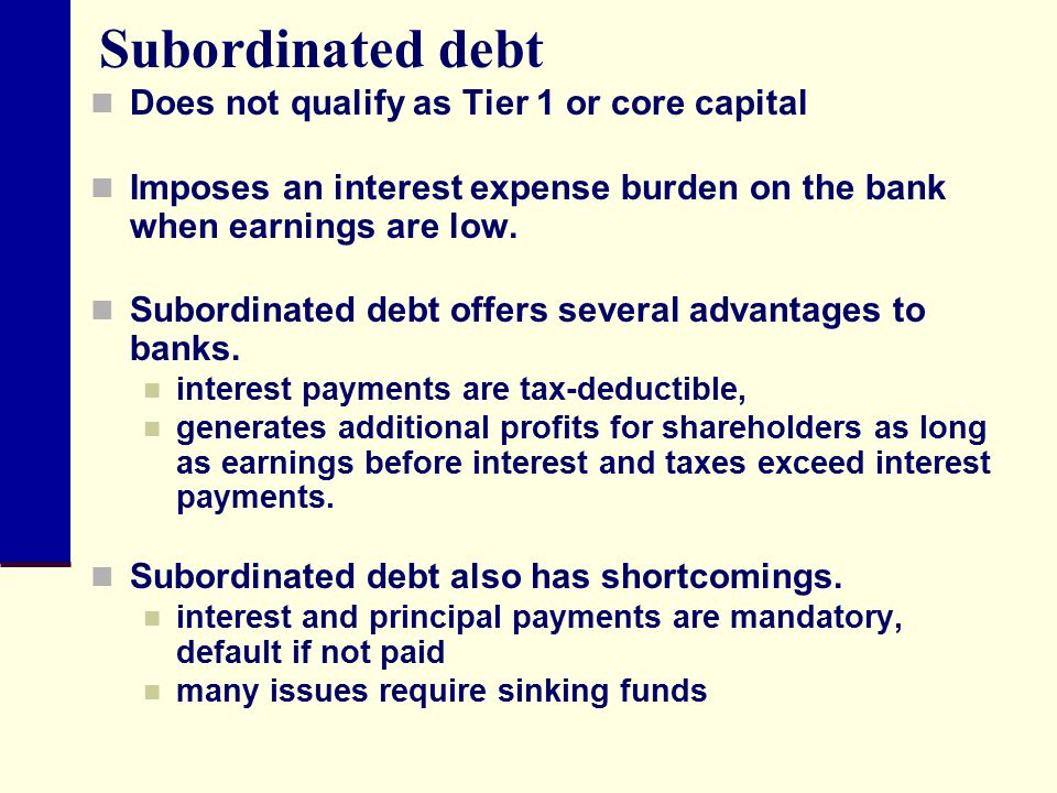 Subordinated debt Does not qualify as Tier 1 or core capital