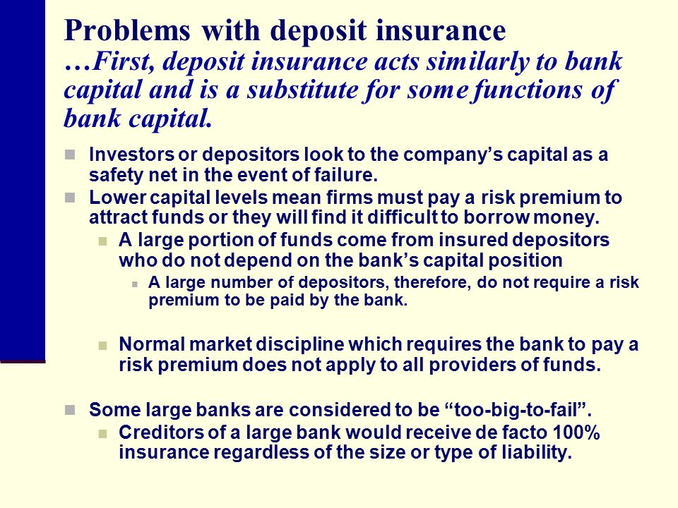 Problems with deposit insurance …First, deposit insurance acts similarly to bank capital and is a substitute for some functions of bank capital.