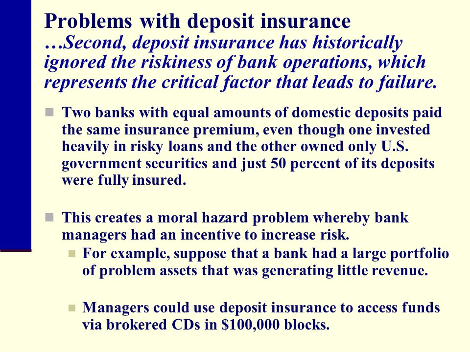 Problems with deposit insurance …Second, deposit insurance has historically ignored the riskiness of bank operations, which represents the critical factor that leads to failure.