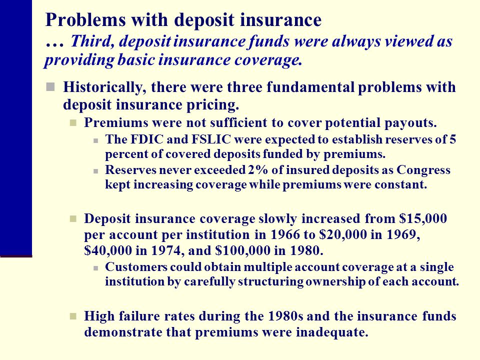 Problems with deposit insurance … Third, deposit insurance funds were always viewed as providing basic insurance coverage.