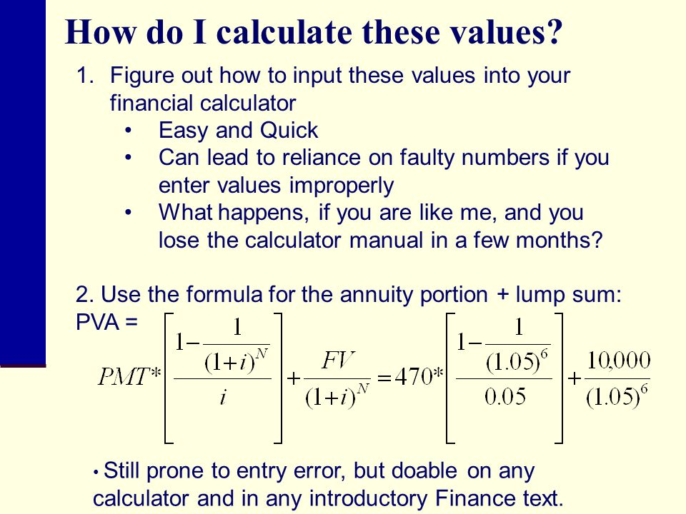 How do I calculate these values