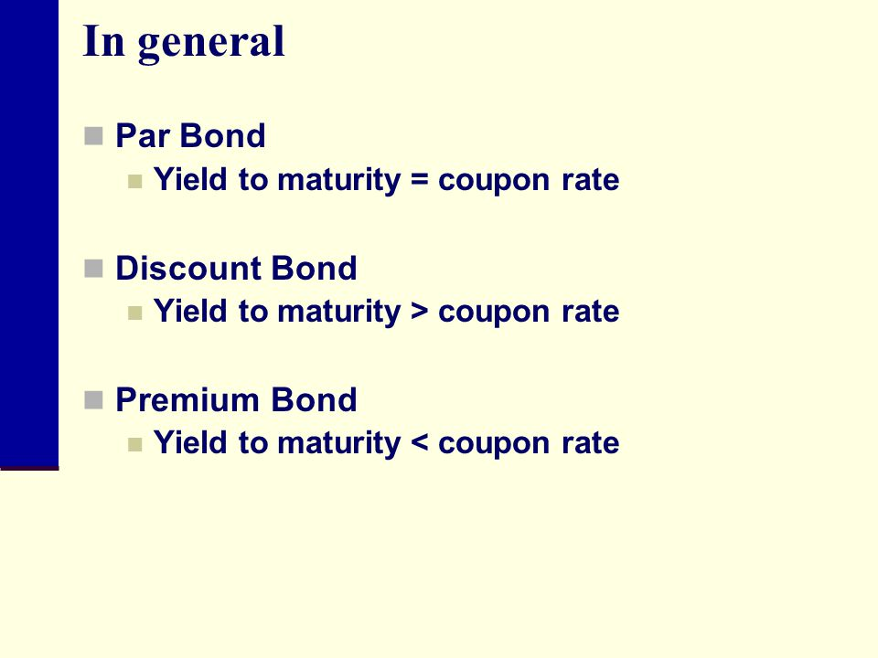 In general Par Bond Discount Bond Premium Bond