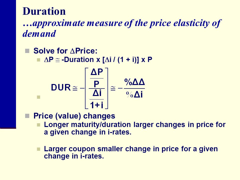 Duration …approximate measure of the price elasticity of demand
