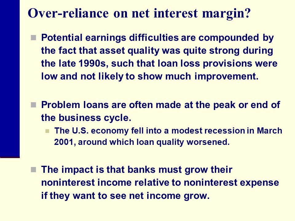 Over-reliance on net interest margin
