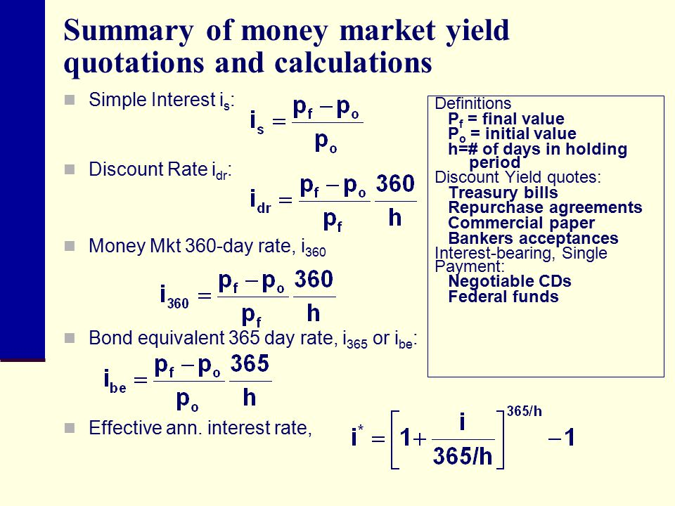 Summary of money market yield quotations and calculations