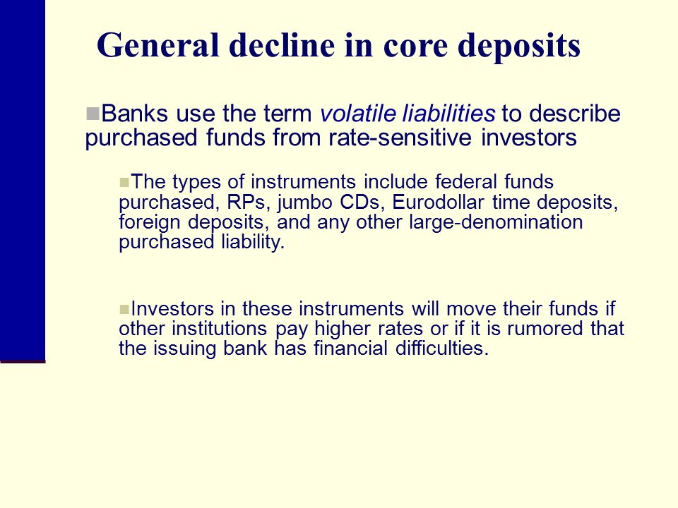 General decline in core deposits