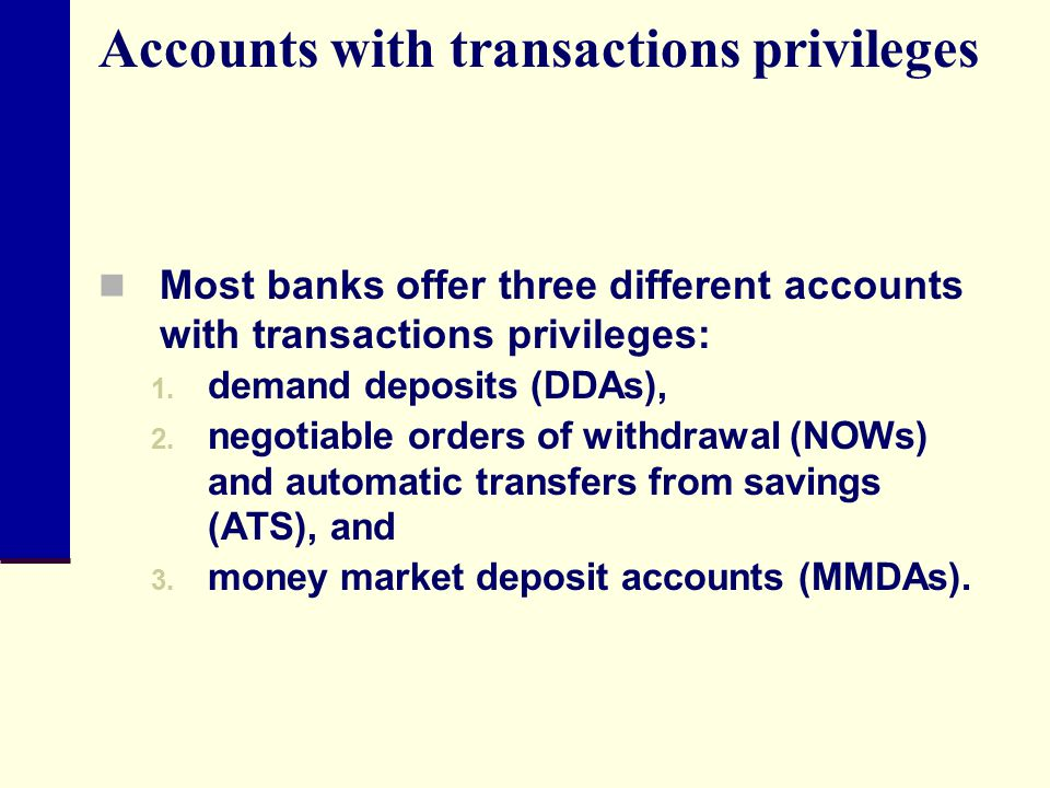 Accounts with transactions privileges