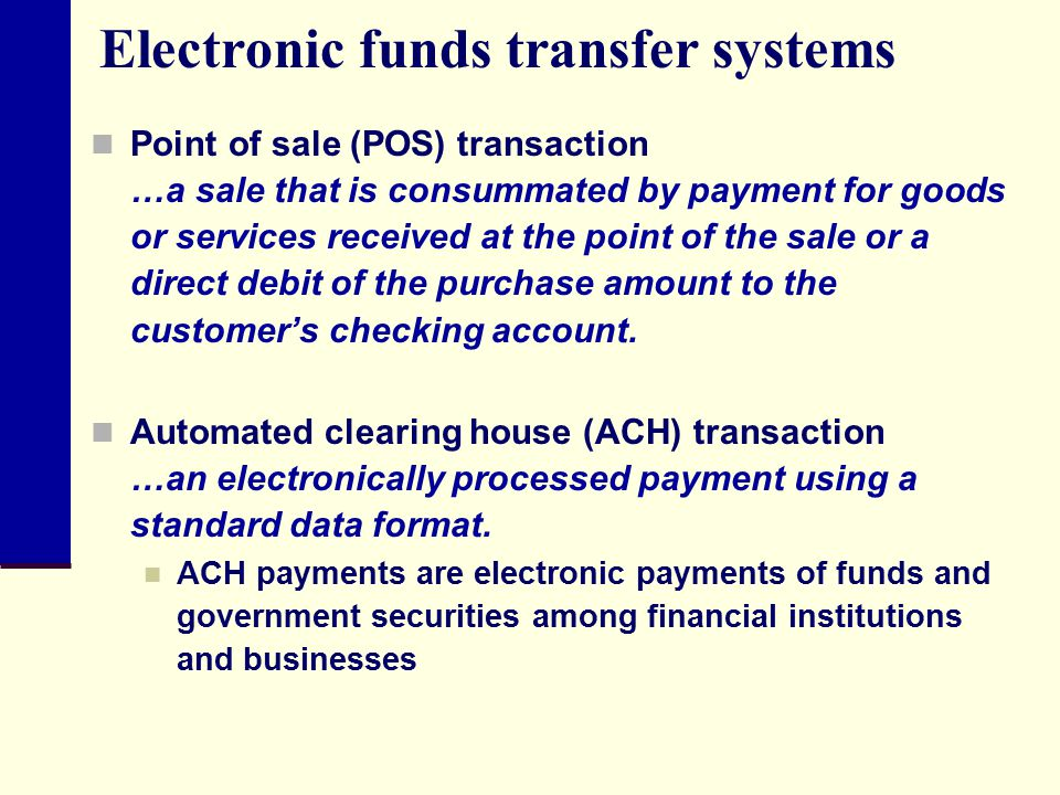 Electronic funds transfer systems