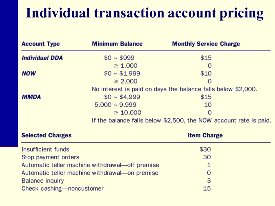Individual transaction account pricing