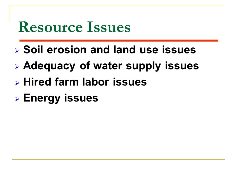 Resource Issues Soil erosion and land use issues