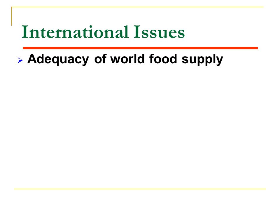 International Issues Adequacy of world food supply