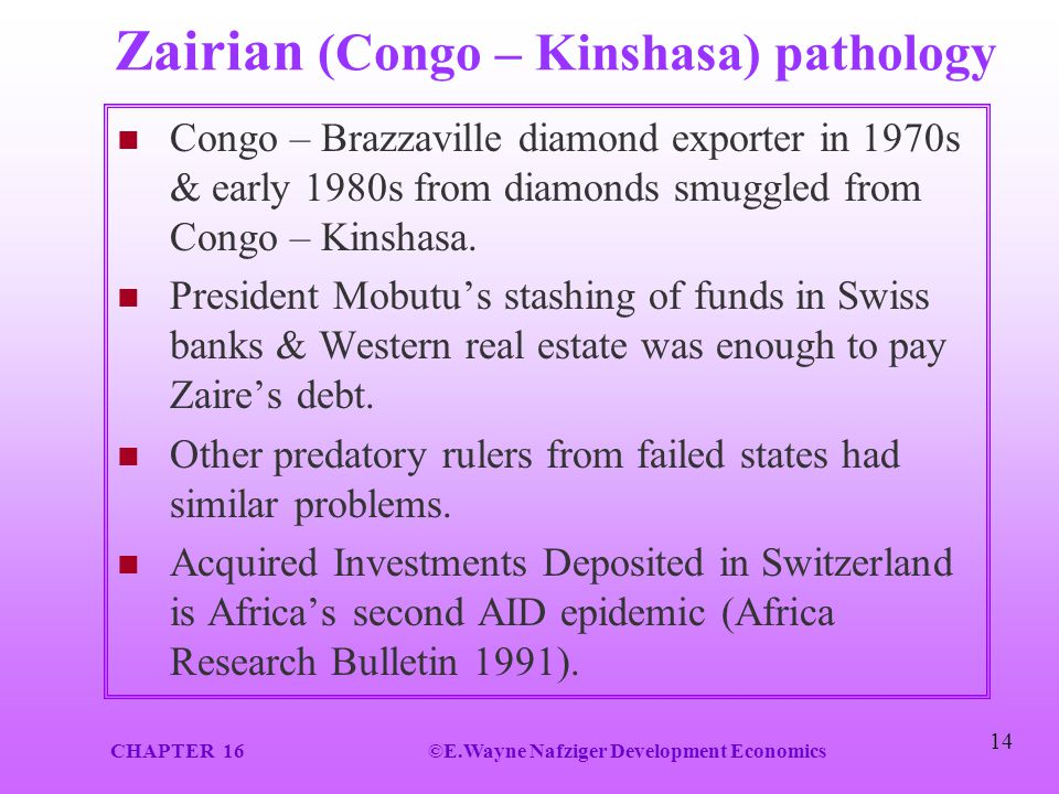 Zairian (Congo – Kinshasa) pathology