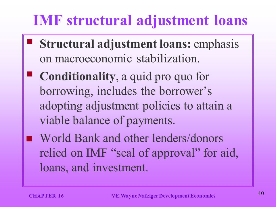 IMF structural adjustment loans