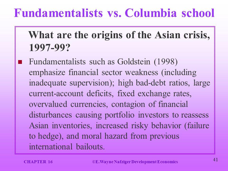 Fundamentalists vs. Columbia school