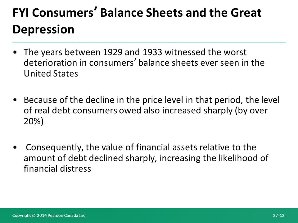 FYI Consumers' Balance Sheets and the Great Depression