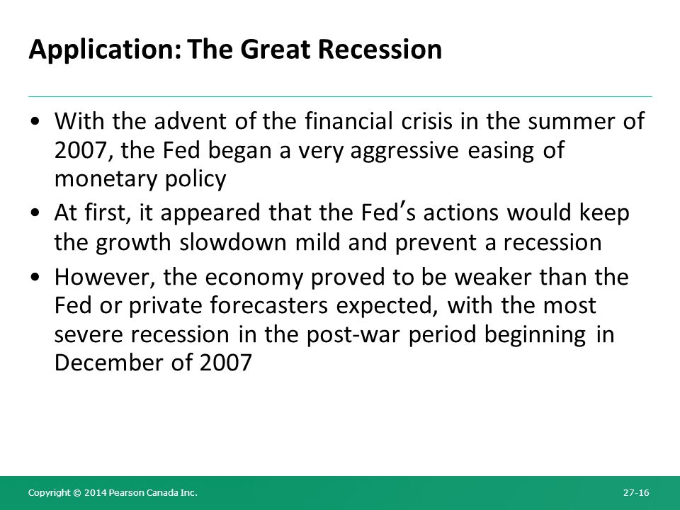 Application: The Great Recession