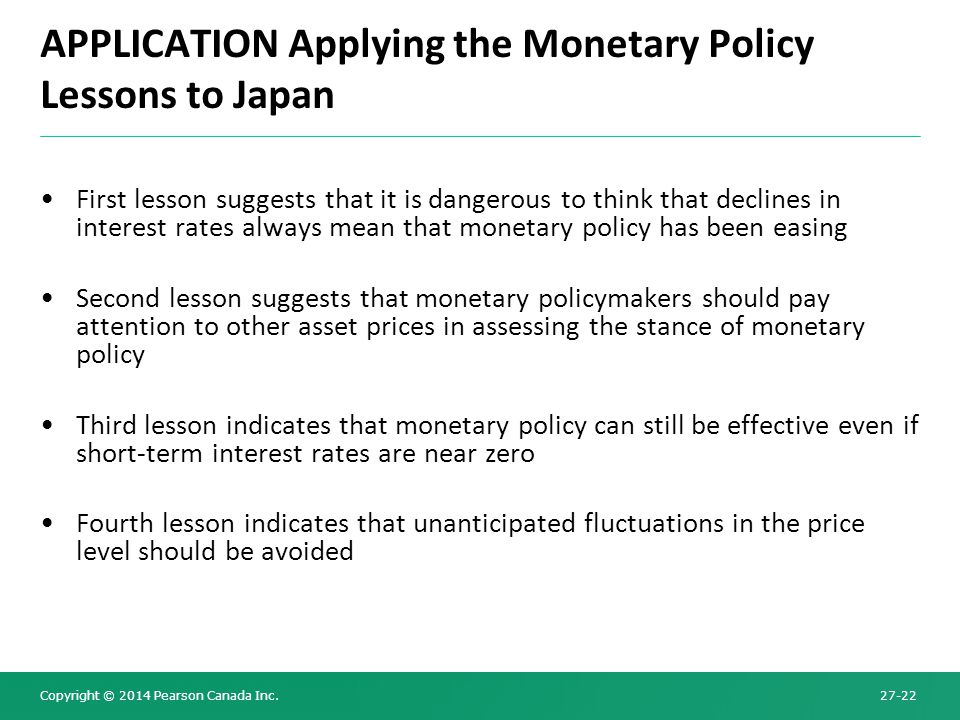 APPLICATION Applying the Monetary Policy Lessons to Japan