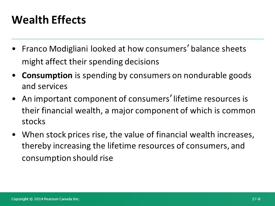 Wealth Effects Franco Modigliani looked at how consumers' balance sheets might affect their spending decisions.