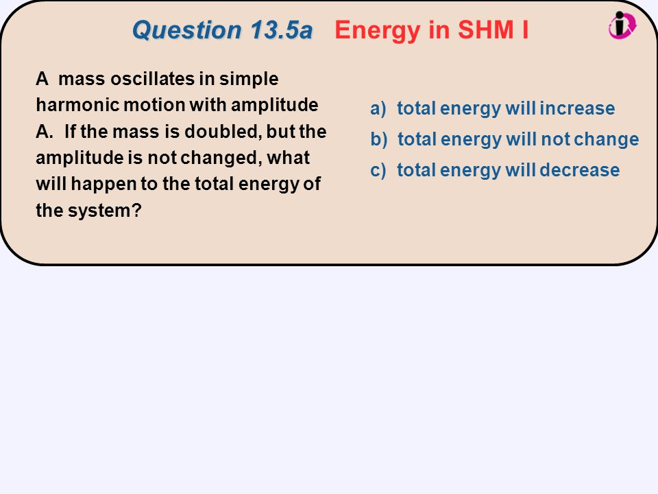 Question 13.5a Energy in SHM I