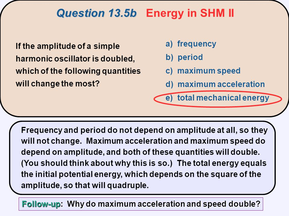 Question 13.5b Energy in SHM II