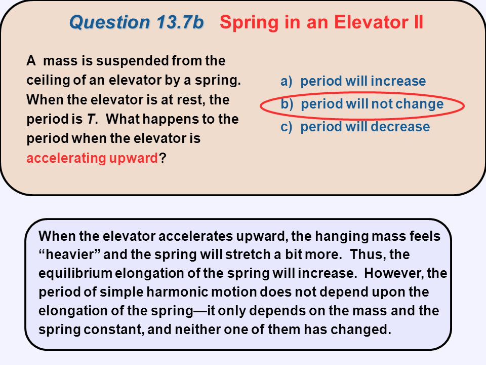 Question 13.7b Spring in an Elevator II