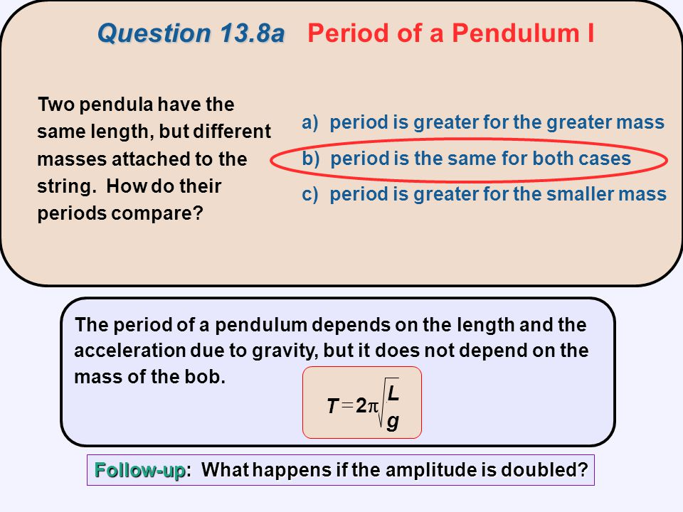 Question 13.8a Period of a Pendulum I