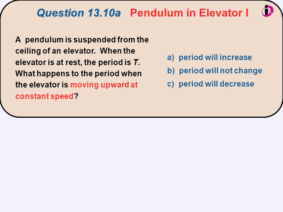 Question 13.10a Pendulum in Elevator I