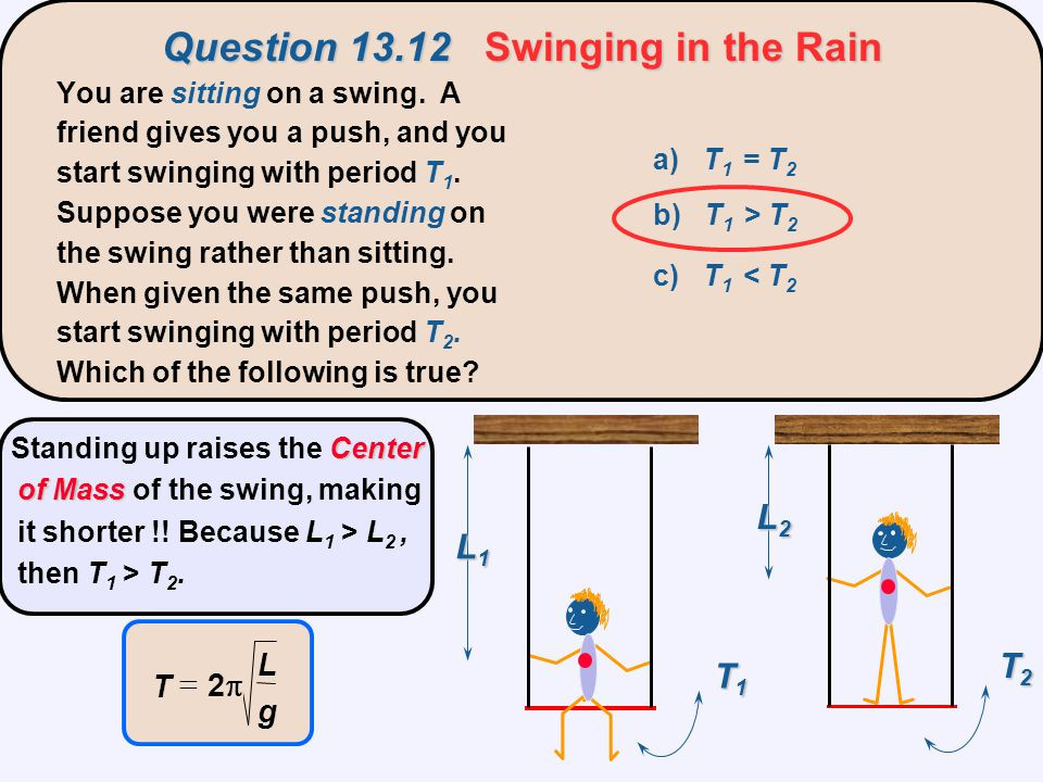 Question 13.12 Swinging in the Rain