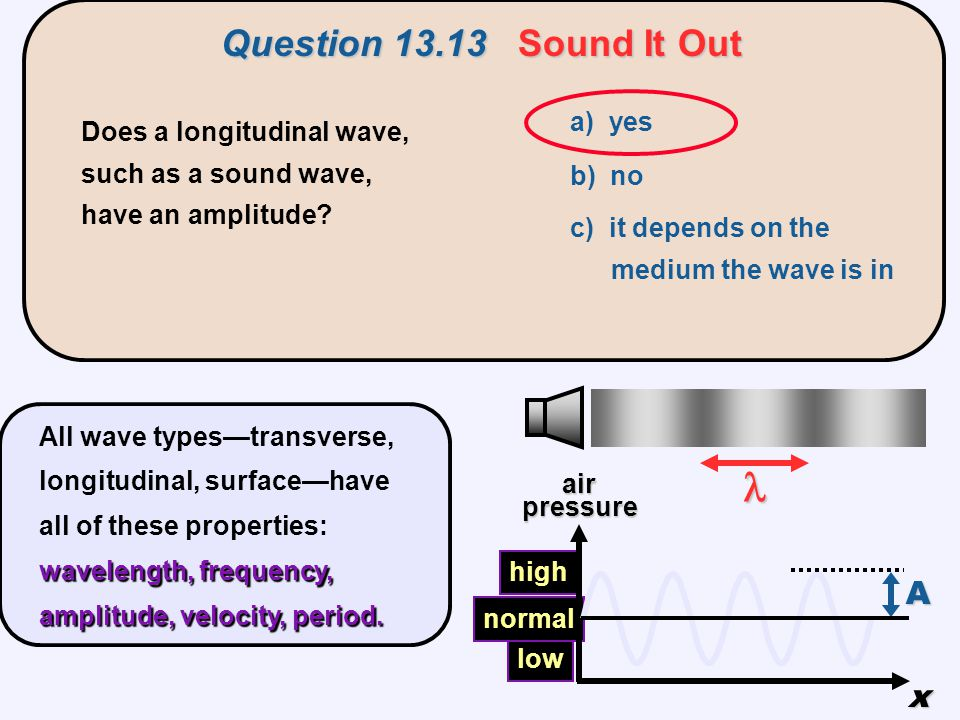  Question 13.13 Sound It Out A x a) yes