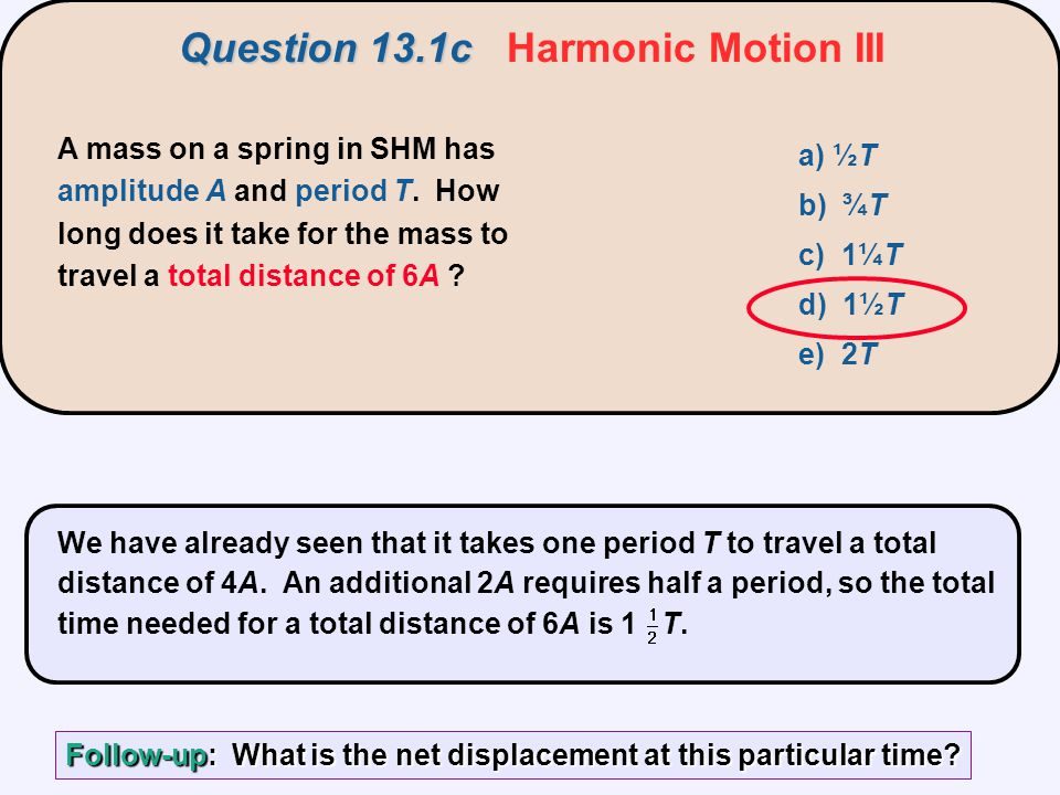 Question 13.1c Harmonic Motion III