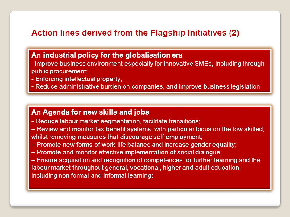 Action lines derived from the Flagship Initiatives (2)