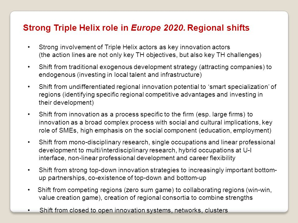 Strong Triple Helix role in Europe 2020. Regional shifts