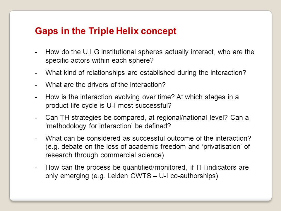 Gaps in the Triple Helix concept