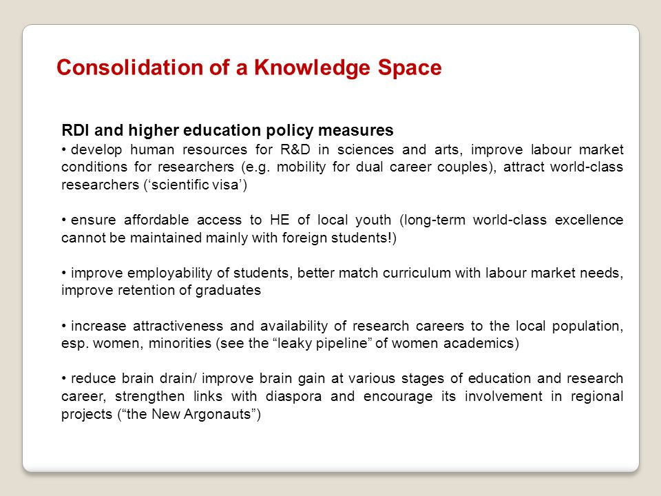 Consolidation of a Knowledge Space