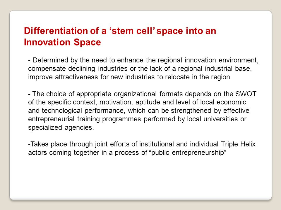 Differentiation of a 'stem cell' space into an Innovation Space