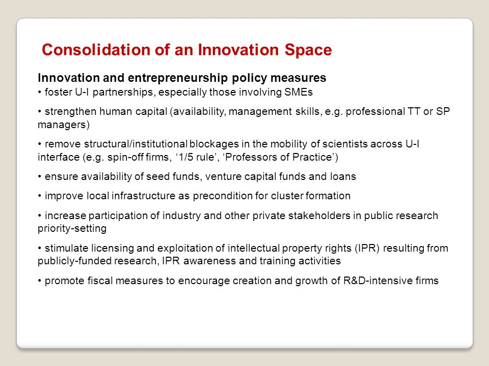 Consolidation of an Innovation Space