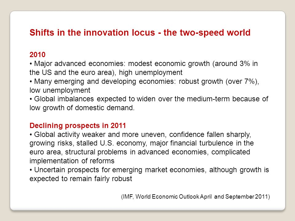 Shifts in the innovation locus - the two-speed world