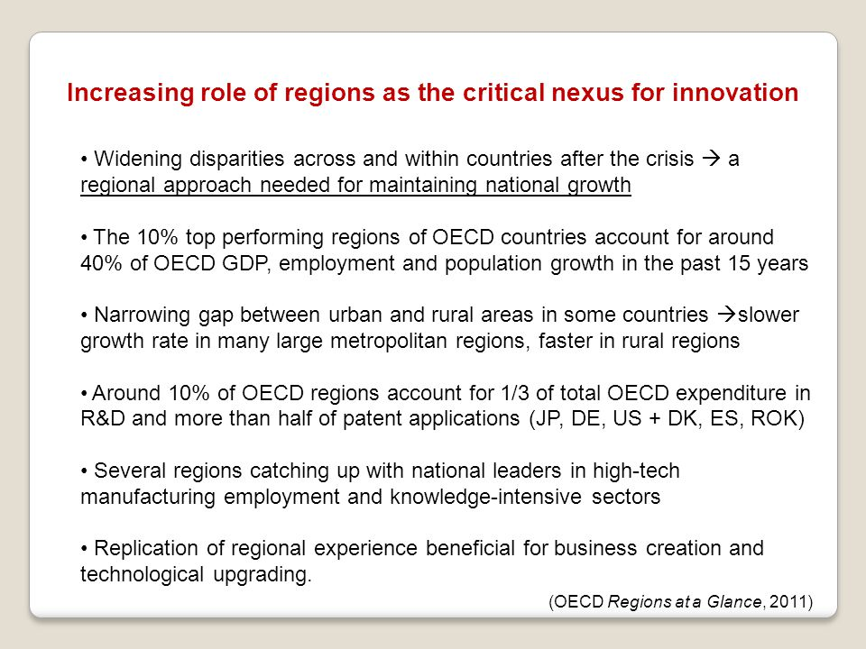 Increasing role of regions as the critical nexus for innovation