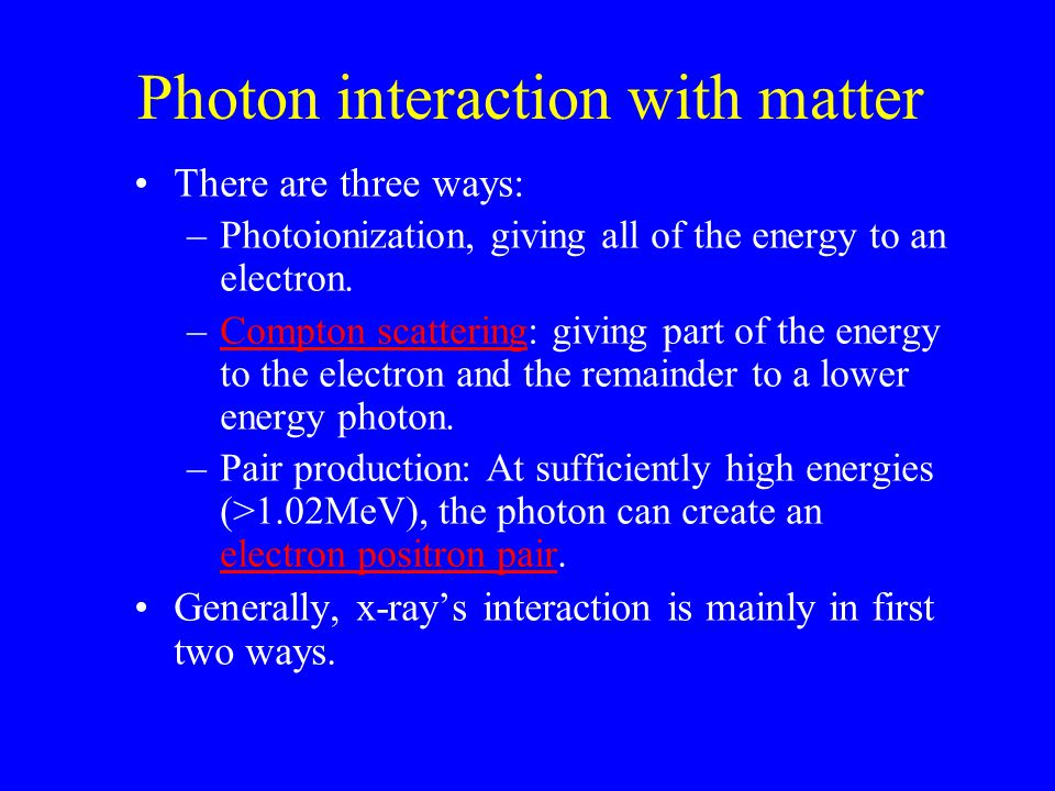 Photon interaction with matter