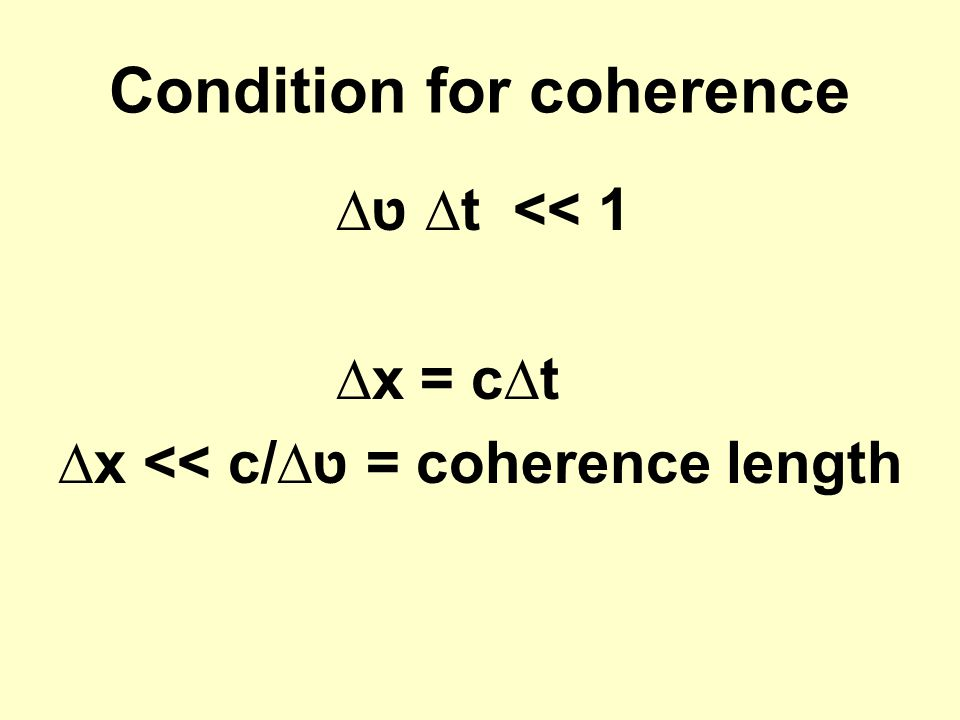 Condition for coherence