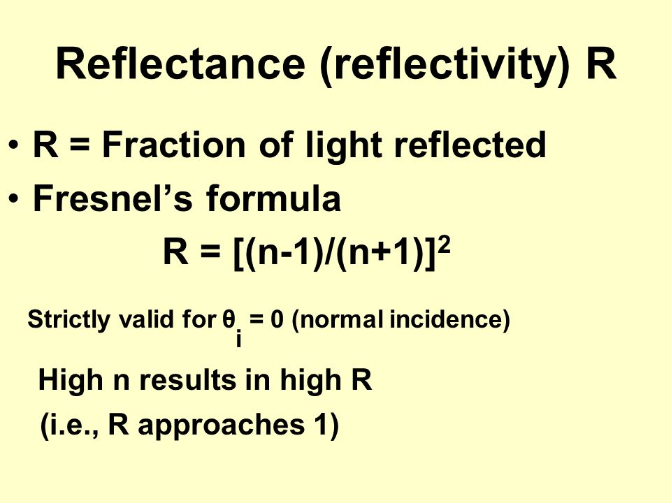 Reflectance (reflectivity) R
