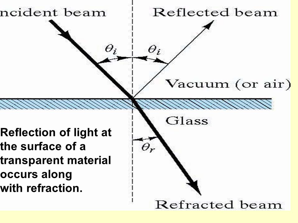 Reflection of light at the surface of a