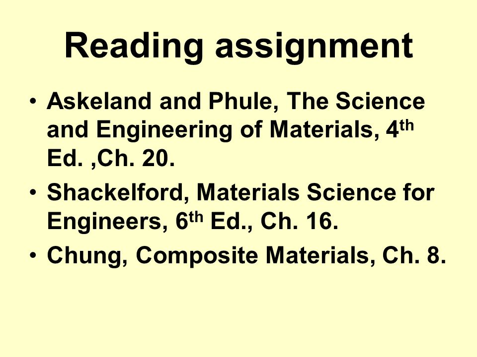 Reading assignment Askeland and Phule, The Science and Engineering of Materials, 4th Ed. ,Ch. 20.